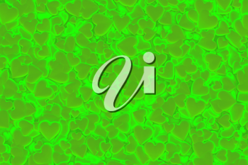 Valentine's Day abstract 3D background pattern with radiant, glowing and shining green hearts.