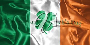 St. Patrick's Day. Flag Of Ireland With Clover Leafs 3D illustration
