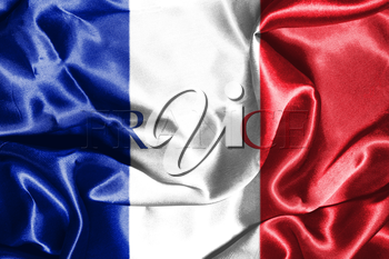 National Flag Of France Waving in the Wind With Country Name On It 3D illustration