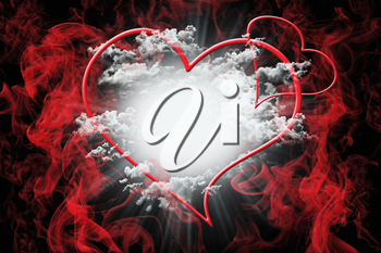 Hearts and White Fluffy Clouds With Red Smoke. Valentine's Day Concept Background 3D Illustration