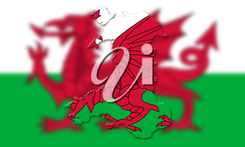 Map Of Wales With Flag Of Country In The Background 3D Illustration