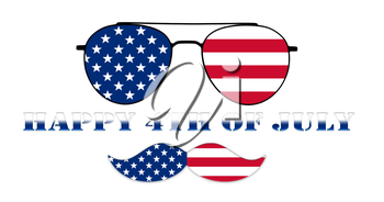 Happy 4th of July. Glasses and Mustache Design of the American Flag Illustration