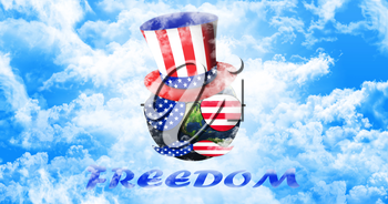 Planet Earth With Uncle Sam's Hat, Sunglasses and Mustaches. United States of America Flag. Freedom Concept 3D illustration