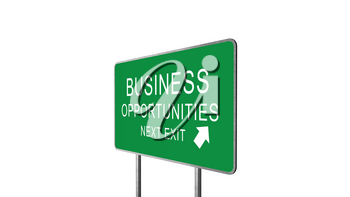 Business Opportunities Next Exit Green Road Sign With Direction Arrow Isolated On White Background. Business Concept 3D Rendering