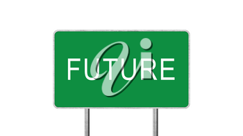 Future Green Road Sign Isolated On White Background. Business Concept 3D Rendering