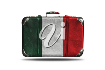 Travel Vintage Leather Suitcase With Flag Of Mexico Isolated On White Background