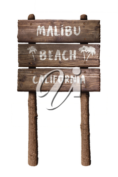 Malibu Beach California Rustic Wooden Board Sign Isolated On White Background