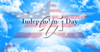 Independence Day, 4th of July Sign Against Blue Sky Background With American Flag In Shape Of a Star