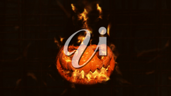 Halloween Pumpkin, Jack O' Lantern Burning in Flames in a Haunted, Scary Ambient