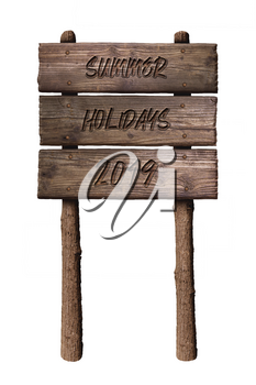 Summer Wooden Board Sign with Text, Summer Holidays 2019 Isolated On White Background