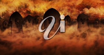 Cemetery At Night With Tombstones With Skulls And Burning Sky Full Of Clouds and Stars in The Background. Halloween Concept 3D illustration