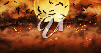 Halloween Pumpkins At The Cemetery Rising From The Mist With Clouds and The Moon In The Background 3D illustration