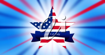Happy 4th of July.  Independence Day, Star With United States of America Flag White Abstract Background  illustration