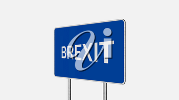 Brexit Concept. Road Sign Depicting Great Britain Departing European Uniun