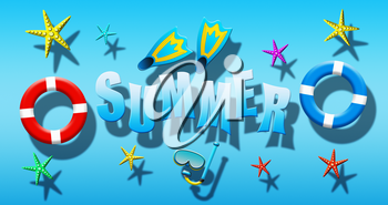 Summer Holiday At Swimming Pool With Scuba Mask, Flippers, Safety Rings and Starfish Floating On a Blue Water Surface