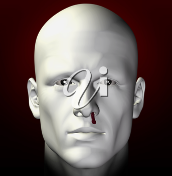 Man portrait with bleeding nose. 3d illustration.