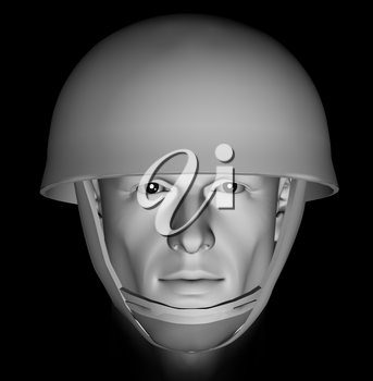 Male soldier head portrait with dramatic light on black background. 3d illustration.