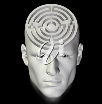 Man in a complex maze of deep thought. 3d conceptual illustration.