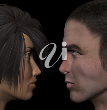 Young couple in love looking into each other's eyes. Man and woman 3d illustration.