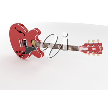 The guitar is a type of chordophone traditionally constructed from wood and strung with either gut nylon or steel strings vector color drawing or illustration